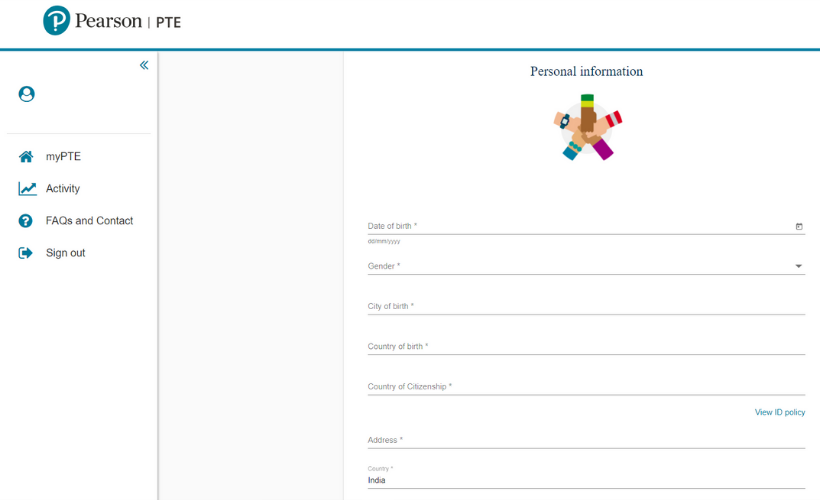 PTE Personal Profile Set-up Page